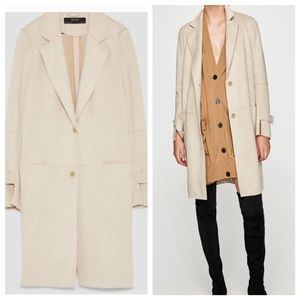 Zara Faux Suede Coat Long Trench Duster Jacket